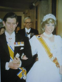November 18, 1982: Prince Charles & Princess Diana attend a banquet at Hampton Court Palace for Queen Beatrix of the Netherlands.