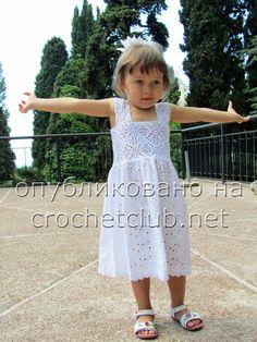платье для девочки-вязание и ткань