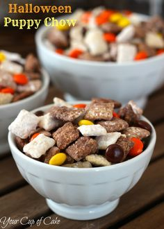 halloween muddy buddies....puppy chow is seriously the best thing ever created by man! And this sounds like a yummy twist!