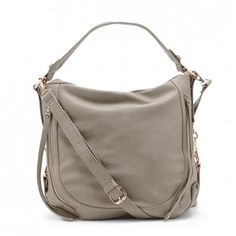 Women's Taupe Vegan Leather Side Zip Hobo | Amerie by Sole Society