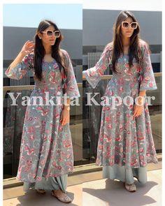 Indian pakistani kurta dress With sharara pant combo Top Tunic Set Stylish Dresses, Nice Dresses, Casual Dresses, Fashion Dresses, Salwar Designs, Kurti Designs Party Wear, Dress Indian Style, Indian Outfits, Shopping Iguatemi