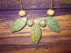 Faux Ceramic Autumn Leaf Polymer Clay Necklace