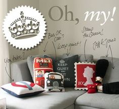 Sit down, Baby! how to make 6 cushions inspired by London I love the 'Keep Quiet and Sit Down'!