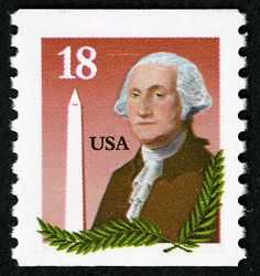 The 18-cent stamp featuring George Washington and the Washington Monument was issued November 6, 1985, in Washington, DC. The stamp's design featured a portrait of Washington based on a Gilbert Stuart painting. Olive branches framed the portrait along the bottom and lower right side. To the left of the portrait, the Washington Monument was depicted. The monument, built in Washington's honor, was dedicated a century earlier.