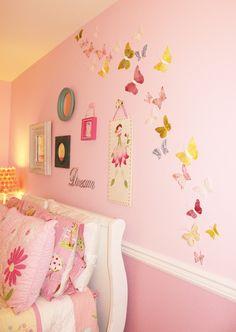 butterflies galore in a little girl's bedroom