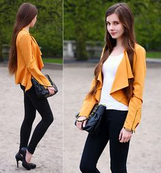 Rosyruby Mustard Blazer, Romwe Black Skinny Pants, H White Top, Quilted Black Chain Bag, Embis Black Leather Heels