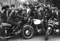 "Influence - The Rockers during the 1960's were englands motorcycle counter culture. Using english bikes, the Rockers gave rise to the cafe racer style of bike, with the emphasis on speed, and aerodynamics, they would race their bikes from road cafe to road cafe, as these were the only places that would allow them in. During the 60's they butted heads with the other major youth movement, the ""Mods"" who rode scooters.  (60smodfox.blogspot, 2011)"