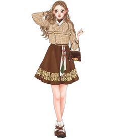고요한 밤#한복#그림#일러스트#イラスト #illustration#drawing#sketch#fashion Asian Fashion, Fashion Art, Girl Fashion, Fashion Dresses, Womens Fashion, Fashion Design, Kpop Outfits, Anime Outfits, Korean Outfits