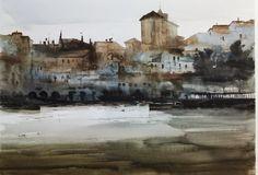 Manolo Jiménez: 2014 Watercolor Sunset, Watercolor Artists, Watercolor Landscape, Artist Painting, Watercolor And Ink, Painting & Drawing, Watercolor Paintings, Urban Sketching, Urban Landscape