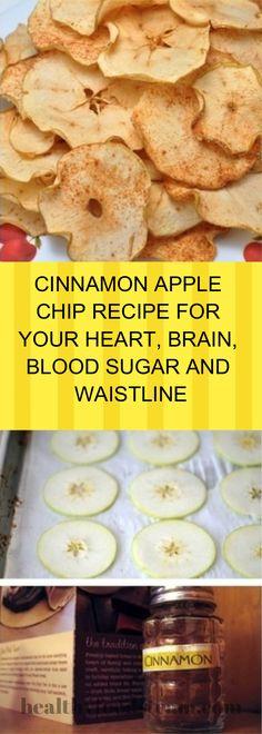 CINNAMON APPLE CHIP RECIPE FOR YOUR HEART, BRAIN, BLOOD SUGAR AND WAISTLINE Heart Healthy Recipes, Fruit Recipes, Healthy Treats, Plant Based Recipes, Healthy Drinks, Gourmet Recipes, Healthy Foods, Dessert Recipes, Healthy Heart