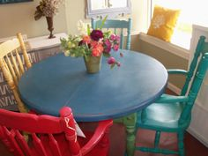 Refurbished Kitchen Table With Chairs.