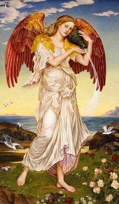 Purgatorio, Canto IX, vs 1-3, Als godin van de dageraad rees Eos of Aurora 's morgens uit het bed op dat ze deelde met haar geliefde Tithonus, om de gouden poorten van de hemelen tijdig voor haar broer Helios te openen.   Rijdend op haar met de goddelijke rossen Lampos en Phaëthon bespannen tweespan door het luchtruim zwevend om aan het eind van de dag in het westen ten slotte weer onder te duiken. Evelyn De Morgan Eos of Aurora (1895)