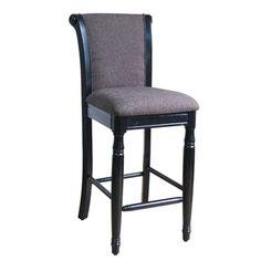 @Overstock - Provide a distinct piece to your bar, dining, office or bedroom with this Grey Chenille bar stool from Kinfine USA. This attractive bar stool features a fabric upholstery and a black finish on the solid wood legs.http://www.overstock.com/Home-Garden/Kinfine-Grey-Chenille-Bar-Stool/7918024/product.html?CID=214117 $119.99