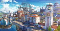 medieval port by taehoon kangHello : This work has been done in a peaceful medieval port city Please enjoy it Fantasy town City art Fantasy city