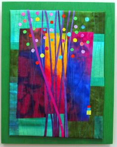 """Budding #2 Hand dyed silks and cottons, fused, machine quilted and mounted on painted wood panel. 11x14"""""""