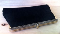 Vintage Little Black Clutch Purse with Silver Flower Patterned Clasp