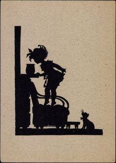 Künstler Ansichtskarte / Postkarte Scherenschnitt, Mädchen, Katze, Stuhl, Topf