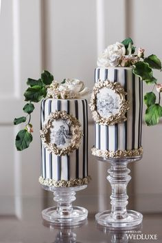 "We are in love with these tall hand painted mini cakes featured in Our amazing styled shoot ""Toile du Jouy "" as seen in the current edition of ! photo by in collaboration with ! Gorgeous Cakes, Pretty Cakes, Amazing Cakes, Unique Cakes, Creative Cakes, Fancy Cakes, Mini Cakes, Fondant Cakes, Cupcake Cakes"