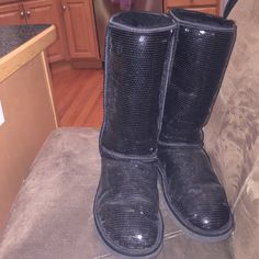 Tall black sparkly uggs Very good condition!! Only worn a few times. I am willing to negotiate price. I also have other UGGS if interested, just ask! UGG Shoes Winter & Rain Boots