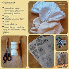 transfer na látku Textiles, Art Decor, Decoupage, Sewing, Paper, Fabric, Prints, How To Make, Handmade