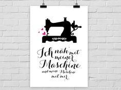 Originaldruck - Kunstdruck NÄHMASCHINE - ein Designerstück von PrintsEisenherz bei DaWanda