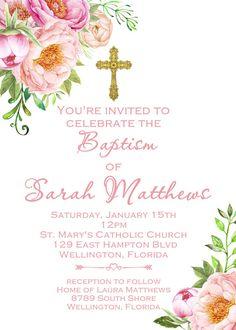 Invitación niña bautismo invitación imprimible primavera