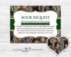 Printable rustic woodland camo baby shower invitation baby instant download camo book request realistic green camouflage book in lieu of card boy filmwisefo Gallery