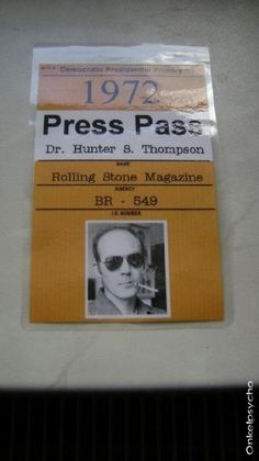 b9037664 Details about Hunter S. Thompson - Fake Press Pass / ID Badge - Halloween  Costume/Cosplay