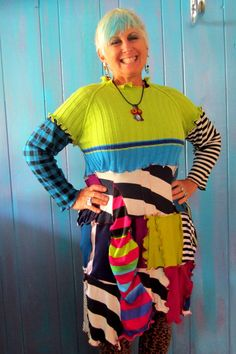 Crazy Mixed Up Sweater Dress with mismatched sleeves by monapaints, $195.00