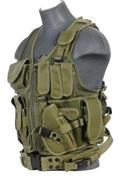 Lancer Tactical Adjustable Size Cross Draw Zipper Vest w/ Pistol Holster ( OD Green )
