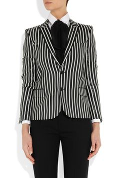 Saint Laurent Striped glossed rayure-effect blazer