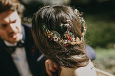 Delicate stumble flower crown - Image by Pablo Laguia - Otaduy Wedding Dresses For A Rustic Outdoor Wedding Inspiration Shoot In Spain From Photographer Pablo Laguía And Wedding Planner Paloma Cruz