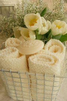 Soft yellow towels