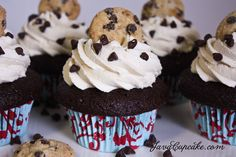 Chocolate Chocolate Chip Cookie Dough Cupcakes