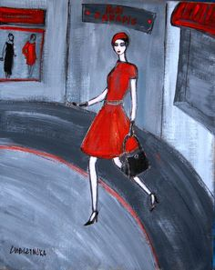 """Ola Lubczynska, """"La Parisienne"""", acrylic on canvas."""