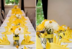 Love this crisp yellow & white tablescape. Low centerpieces, accented by intricately-folded napkins (which have height) and textured craspedia (a.k.a. Billy Balls) in simple bud vases, this tablescape offers vibrant visual interest.