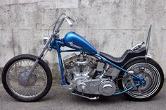 Blue Panhead chopper with stepped seat and short apes & sissy bar Bobber Bikes, Old Motorcycles, Bobber Motorcycle, Harley Davidson Knucklehead, Harley Davidson Chopper, Harley Davidson Motorcycles, Harley Panhead, Harley Bikes, Bobbers