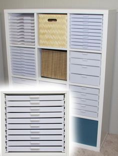 Shows how to adapt the Best Craft Organizing storage drawers into the Ikea Kallax & Expedit cubes. - Shows how to adapt the Best Craft Organizing storage drawers into the Ikea Kallax & Expedit cubes. Craft Storage Drawers, Ikea Drawers, Ikea Storage, Craft Room Storage, Storage Hacks, Cube Storage, Craft Organization, Kitchen Storage, Storage Baskets