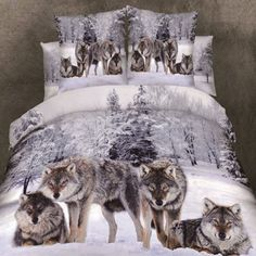 Alicemall 4 Piece Wolf 3D Bedding Set Twin Snow Wolf in the Woods Print 3D Animal Bedding Sets 100% Cotton Duvet Cover Sets