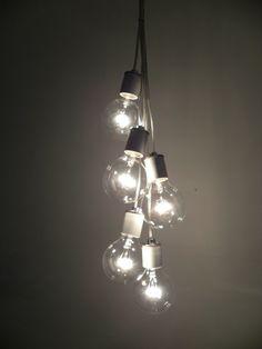 5 Bulb White Porcelin Modern Pendant light Industrial Chandelier Plug In Swag light or Hardwired ceiling fixture rustic simple lighting