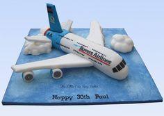 Boeing A380 plane 30th birthday cake www.littlecakefairydublin.com www.facebook.com/littlecakefairydublin