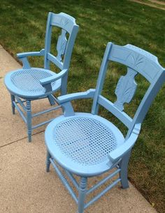 Custom Blue On These Cane Seat Chairs.