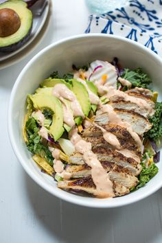 Spicy Southwest Chicken Avocado Salad  from The Girl In The Little Red Kitchen| Lunch comes together in a pinch  when you prep the chicken in advance. #EatSmartVeggies