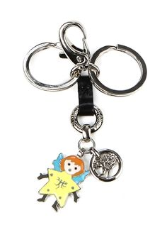 Key holders with pendants - nickel colour metal and leather $78.00
