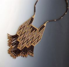 Beaded Bib Necklace Brown Gold Mauve by CalliopeAZCreations, $110.00
