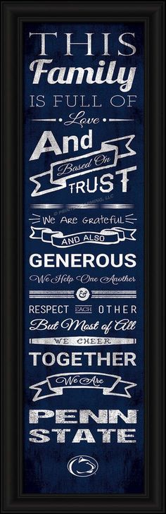 """Penn State Nittany Lions 8""""x24"""" Family Cheer Print"""