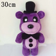 """Five Nights At Freddy's Fazbear Bear Purple 12 Inch Toddler Stuffed Plush Kids Toys. Five Nights at Freddy's is an indie point-and-click survival horror video game. The game centers on a fictional pizza restaurant called """"Freddy Fazbear's Pizza"""", where the player must act as a night security guard, defending themselves from the malfunctioning animatronic animal characters by tracking their movement through the facility using security cameras.   Soft & Cuddly Made in China Material: High…"""