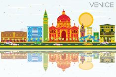 Venice Skyline with Color Buildings, Blue Sky and Reflections