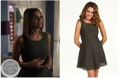 The Lying Game: Season 2 Episode 9 Emma's Brown Mesh Striped Panel Dress Emma Becker (Alexandra Chando) wears this brown and black mesh panel dress in this week's episode of The Lying Game.