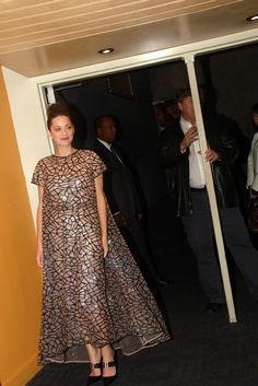 """Marion Cotillard in Dior at the """"Rust and Bone"""" screening in New York."""